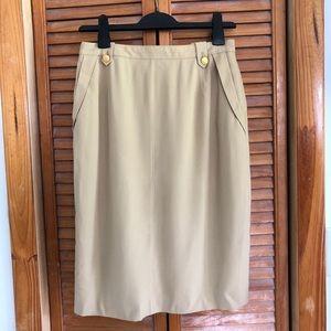 Escada Pure Wool Beige Tan Pencil Skirt